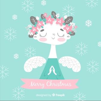 花の冠クリスマス天使の背景