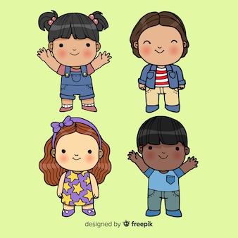 子供の日の漫画の子供のパック