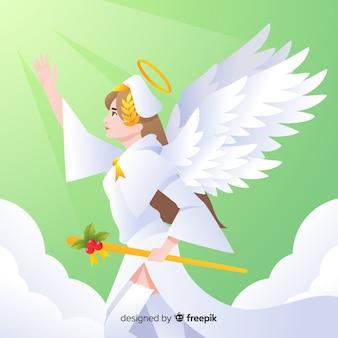 Рождественский ангельский фон скипетр