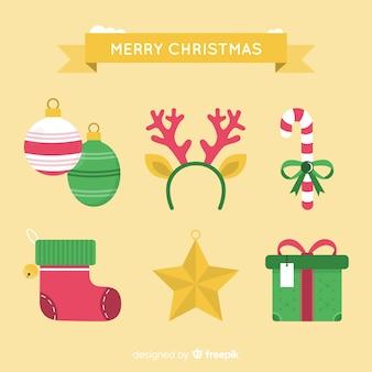 フラットスタイルのクリスマスの要素のコレクション