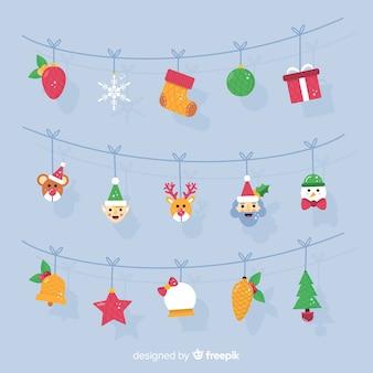 キャラクターのガーランドのクリスマスの背景