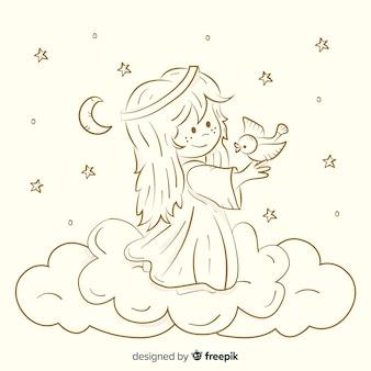 クリスマスセピア天使の背景
