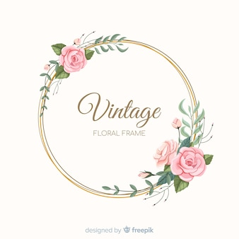 Прекрасная цветочная рамка с винтажным дизайном