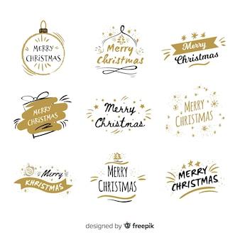 装飾的な黒と黄金のクリスマスバッジコレクション