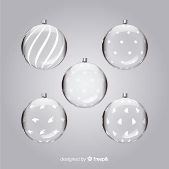 透明なクリスマスボールセット