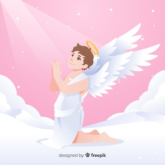クリスマスの祈りの天使の背景