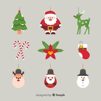 フラットデザインのクリスマスオーナメントコレクション