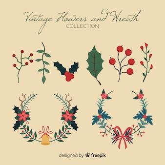 ヴィンテージクリスマスの花輪セット