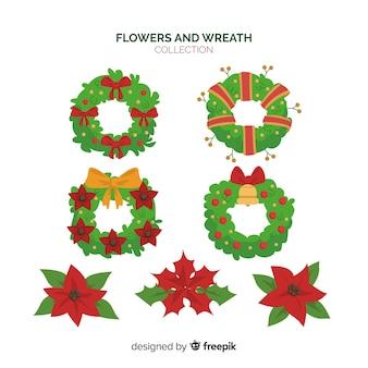 クリスマスの花輪の花輪セット