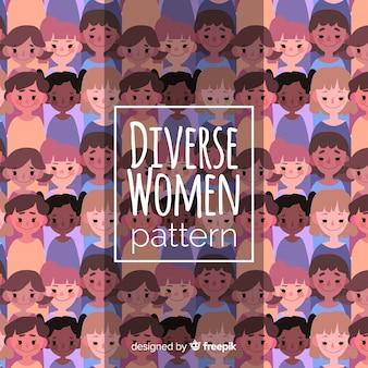 フラットデザインのカラフルな女性のパターン