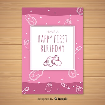 最初の誕生日の手は、おしゃぶりカードのテンプレートを描いた