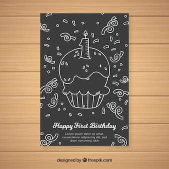 最初の誕生日の黒板のカップケーキのカードのテンプレート