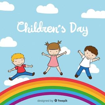 Детский день рисованной фоне неба