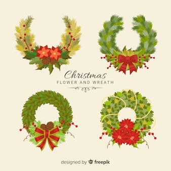 美しいクリスマスの花と花輪のコレクション