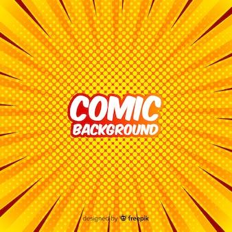 黄色い漫画のハーフトーンの背景