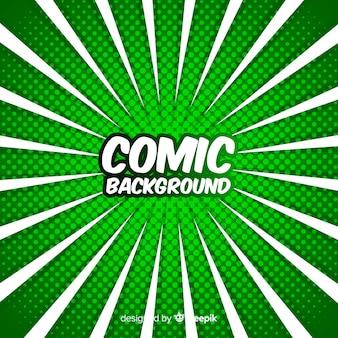 緑の漫画ハーフトーンの背景