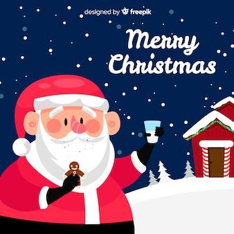 サンタのスナッククリスマスの背景