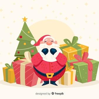 手描きのサンタの贈り物クリスマスの背景