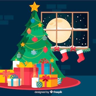 夜のクリスマスツリークリスマスの背景