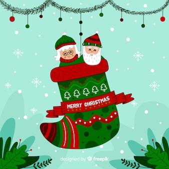 サンタのカップルのクリスマスの背景