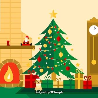 暖かい家のクリスマスの背景