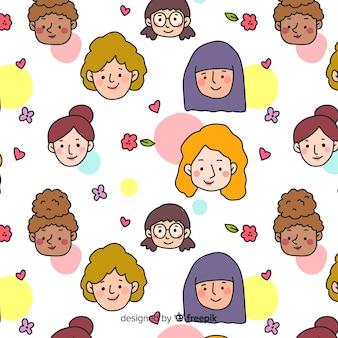 カラフルな手描きの女性のパターン