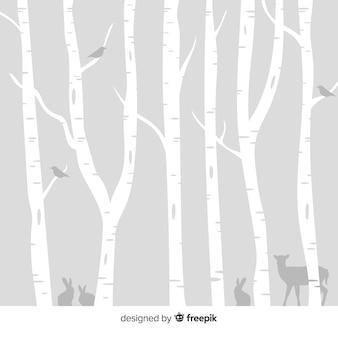 雪の多い森の背景