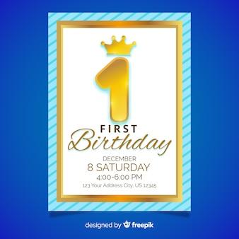 最初の誕生日のゴールデンナンバーカード