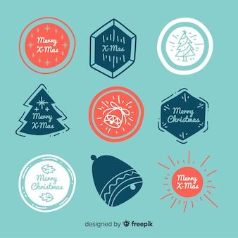 手描きのクリスマスの切手のコレクション