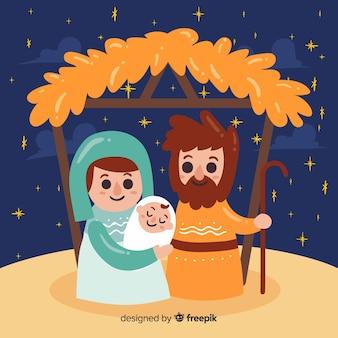 Улыбающийся семейный фон для рождества