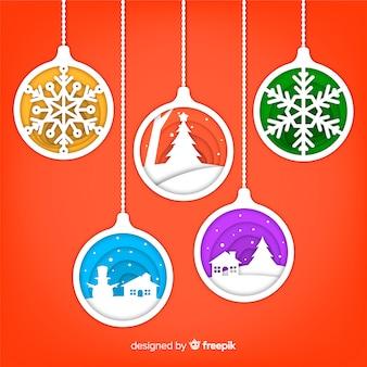 Бумажные рождественские шары фон