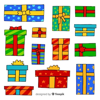 手描きのカラフルなクリスマスギフトボックスコレクション
