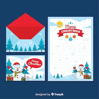 雪だるま風景クリスマスレターテンプレート