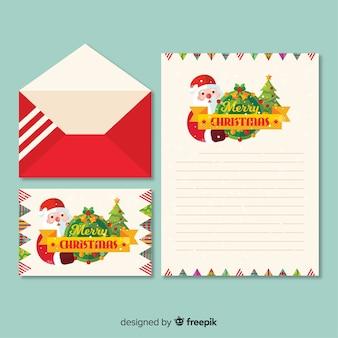 フラットサンタクリスマスレターテンプレート