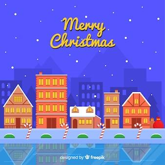 フラットデザインの素敵なクリスマスタウン