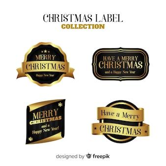 ゴールデンクリスマスラベルのエレガントなセット