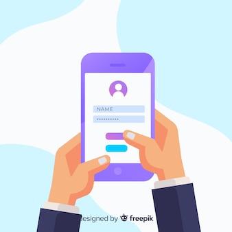 フラットデザインのオンライン登録コンセプト