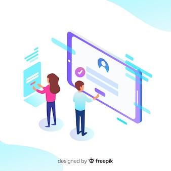 等角図によるオンライン登録の概念