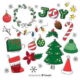 手描きのクリスマスの要素のコレクション