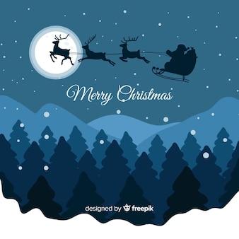 Летающий сани рождественский фон