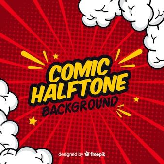 赤い漫画のハーフトーンの背景