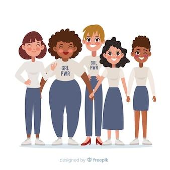 女性の異人種グループ