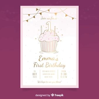 ゴールデンカップケーキの最初の誕生日カードのテンプレート