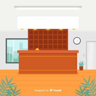 フラットデザインのモダンなホテルレセプション