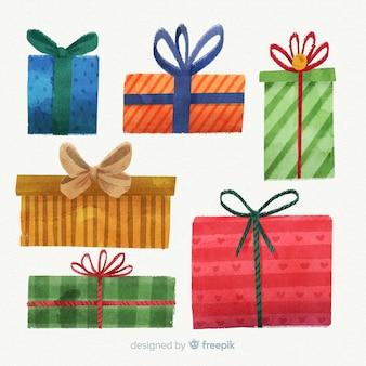 水彩、カラフルなクリスマスギフトボックスコレクション
