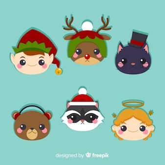 Коллекция симпатичных рождественских персонажей