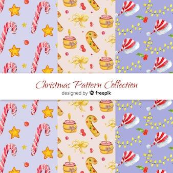 素敵な水彩のクリスマスパターンコレクション