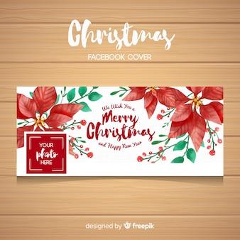 手描きのポインセチアクリスマスのフェイスブックカバー