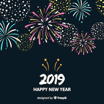 シンプルな花火の新年の背景
