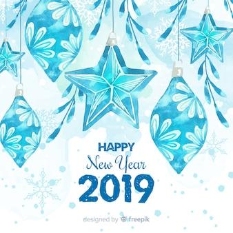 水彩氷の装飾新年の背景